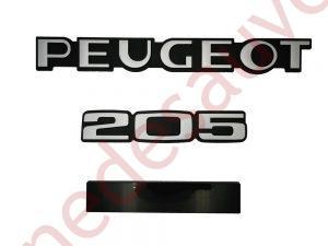 """KIT 3 LOGOS """" PEUGEOT 205 """" NOIR ET GRIS MONOGRAMME POUR PEUGEOT PERSONNALISABLE"""