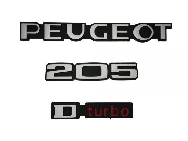 """KIT-3-LOGOS-""""-PEUGEOT-205-D-TURBO-""""-ROUGE-ET-GRIS-MONOGRAMME-POUR-PEUGEOT"""