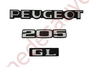 """KIT-3-LOGOS-""""-PEUGEOT-205-GL-""""-NOIR-ET-GRIS-MONOGRAMME-POUR-PEUGEOT"""