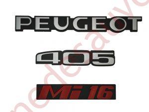 """KIT 3 LOGOS """" PEUGEOT 405 MI16 """" ROUGE ET GRIS MONOGRAMME POUR PEUGEOT"""
