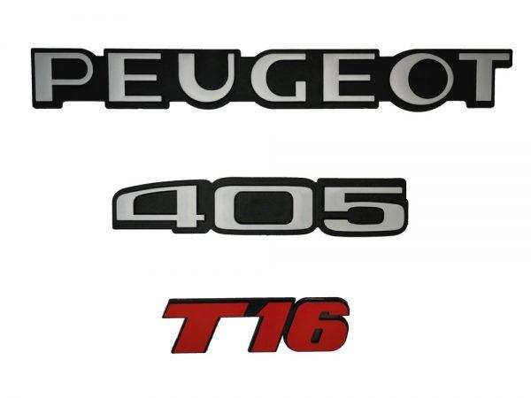 """KIT 3 LOGOS """" PEUGEOT 405 T16 """" ROUGE ET GRIS MONOGRAMME POUR PEUGEOT"""