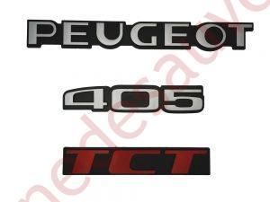 """KIT 3 LOGOS """" PEUGEOT 405 TCT """" ROUGE ET GRIS MONOGRAMME POUR PEUGEOT"""