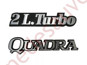 "KIT-2-LOGOS-""-2L.TURBO-QUADRA""-CHROME-POUR-RENAULT-21-2-L-TURBO"