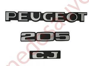 """KIT-3-LOGOS-""""-PEUGEOT-205-CJ-""""-NOIR-ET-GRIS-MONOGRAMME-POUR-PEUGEOT"""