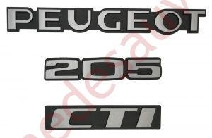 """KIT-3-LOGOS-""""-PEUGEOT-205-CTI-""""-NOIR-ET-GRIS-MONOGRAMME-POUR-PEUGEOT"""