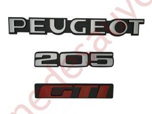 """KIT 3 LOGOS """" PEUGEOT 205 GTI """" ROUGE ET GRIS MONOGRAMME POUR PEUGEOT."""