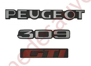 """KIT-3-LOGOS-""""-PEUGEOT-309-GTI-""""-GRIS-ET-ROUGE-MONOGRAMME-POUR-PEUGEOT"""