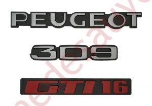 """KIT 3 LOGOS """" PEUGEOT 309 GTI 16 """" GRIS ET ROUGE MONOGRAMME POUR PEUGEOT GTI16"""