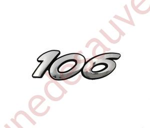 """LOGO-""""-106-""""CHROME-MONOGRAMME-POUR-PEUGEOT-S16-XSI"""
