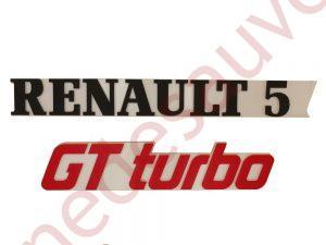 """KIT 2 LOGOS """" RENAULT 5 GT TURBO """" NOIR-BLANC-ROUGE"""