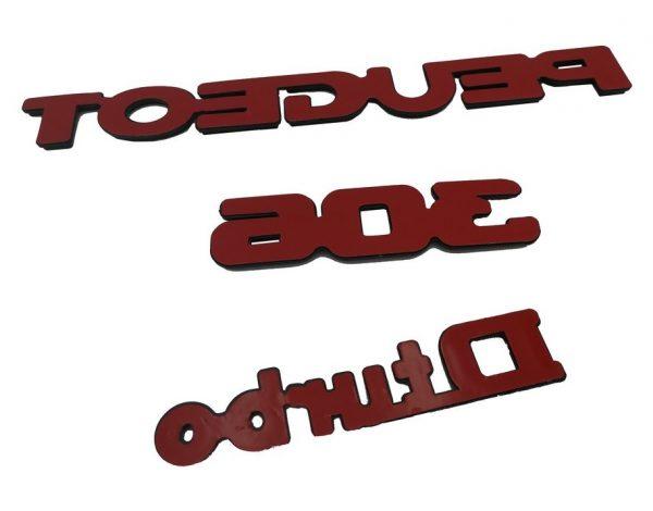 """KIT-3-LOGOS-""""-PEUGEOT-306-D-TURBO-""""-GRIS-ET-NOIR-MONOGRAMME-POUR-PEUGEOT"""