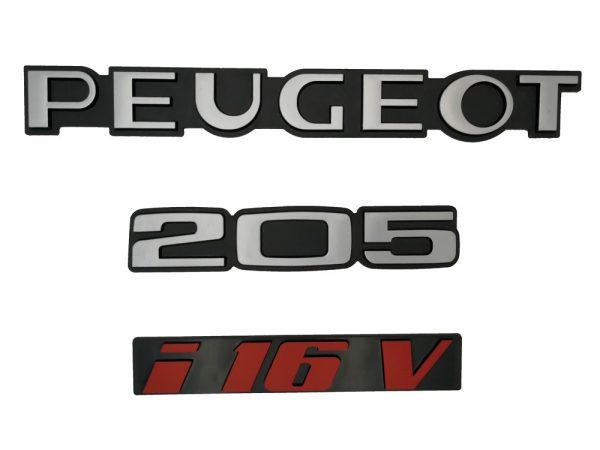 """KIT 3 LOGOS """" PEUGEOT 205 I16V """" ROUGE ET GRIS MONOGRAMME POUR PEUGEOT I 16 V"""