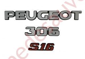 """KIT-3-LOGOS-""""-PEUGEOT-306-S16-""""-ROUGE-ET-GRIS-MONOGRAMME-POUR-PEUGEOT"""