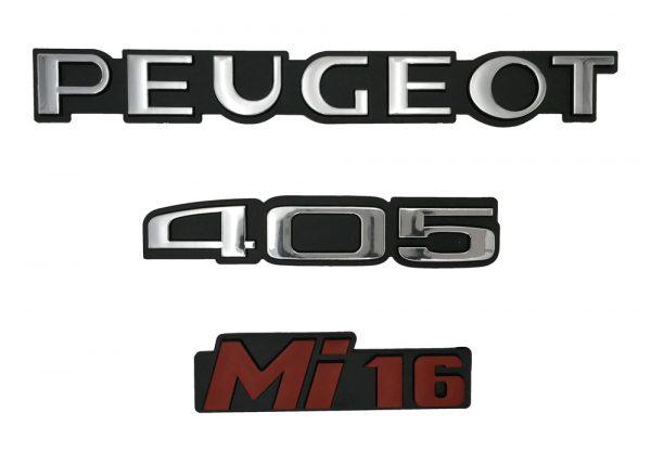 """KIT 3 LOGOS """" PEUGEOT 405 MI16 """" CHROMÉ ET ROUGE MONOGRAMME POUR PEUGEOT"""