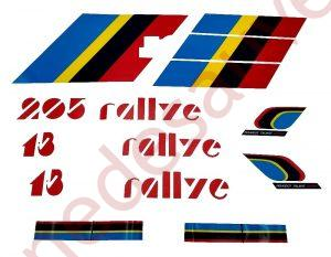 AUTOCOLLANTS STICKERS BANDES KIT COMPLET PTS LOGOS PEUGEOT 205 RALLYE 1.3