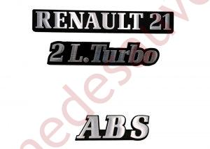 LOGO RENAULT 21 2L TURBO ABS MONOGRAMME CHROME ET NOIR KIT DE 3 LOGOS PHASE 1