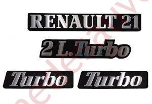 LOGO RENAULT 21 2L TURBO MONOGRAMME CHROME ET NOIR KIT DE 4 LOGOS