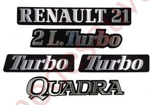 LOGO RENAULT 21 2L TURBO QUADRA MONOGRAMME CHROME ET NOIR KIT DE 5 LOGOS PHASE 2