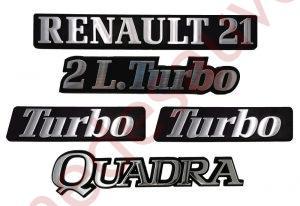 LOGO RENAULT 21 2L TURBO QUADRA MONOGRAMME CHROME ET NOIR KIT DE 5 LOGOS PHASE 2