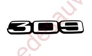 """LOGO """" 309 """" POUR PEUGEOT 309 GTI - GTI16 - MONOGRAMME GRIS ET NOIR"""