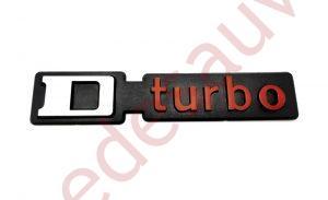 LOGO D TURBO POUR PEUGEOT 309 - 205 TURBO DIESEL MONOGRAMME ROUGE - NOIR - GRIS